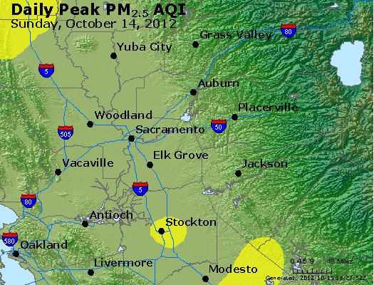 Peak Particles PM<sub>2.5</sub> (24-hour) - http://files.airnowtech.org/airnow/2012/20121014/peak_pm25_sacramento_ca.jpg