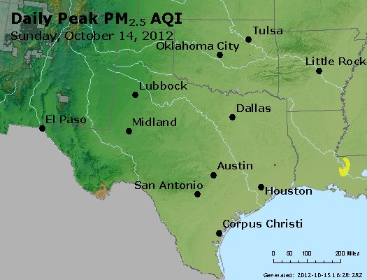 Peak Particles PM<sub>2.5</sub> (24-hour) - http://files.airnowtech.org/airnow/2012/20121014/peak_pm25_tx_ok.jpg