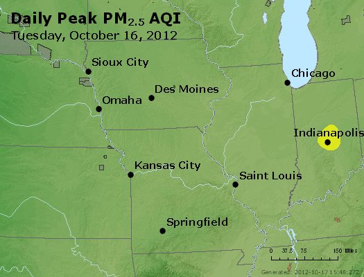 Peak Particles PM<sub>2.5</sub> (24-hour) - http://files.airnowtech.org/airnow/2012/20121016/peak_pm25_ia_il_mo.jpg