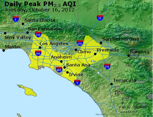 Peak Particles PM<sub>2.5</sub> (24-hour) - http://files.airnowtech.org/airnow/2012/20121016/peak_pm25_losangeles_ca.jpg