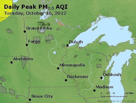 Peak Particles PM<sub>2.5</sub> (24-hour) - http://files.airnowtech.org/airnow/2012/20121016/peak_pm25_mn_wi.jpg