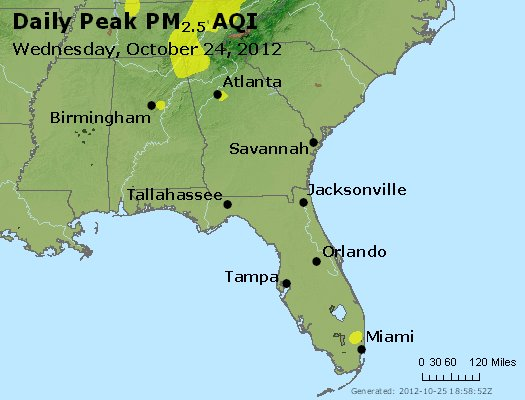 Peak Particles PM<sub>2.5</sub> (24-hour) - http://files.airnowtech.org/airnow/2012/20121024/peak_pm25_al_ga_fl.jpg