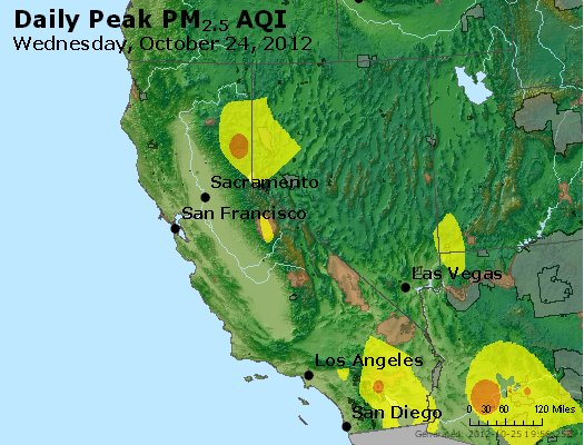 Peak Particles PM<sub>2.5</sub> (24-hour) - http://files.airnowtech.org/airnow/2012/20121024/peak_pm25_ca_nv.jpg