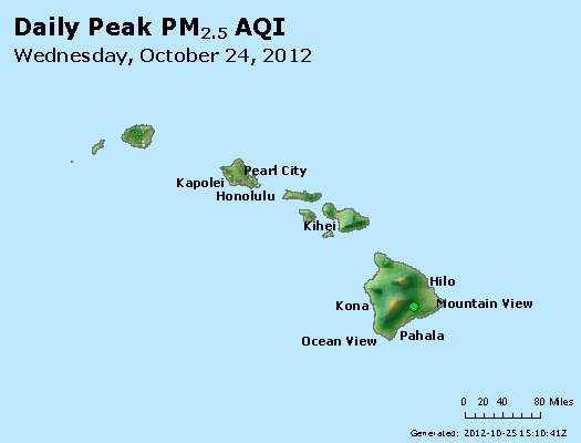Peak Particles PM<sub>2.5</sub> (24-hour) - http://files.airnowtech.org/airnow/2012/20121024/peak_pm25_hawaii.jpg