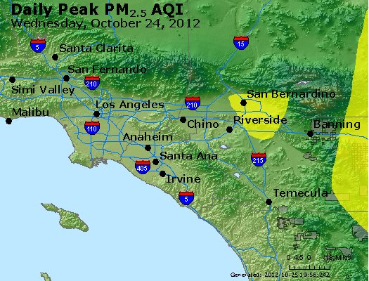 Peak Particles PM<sub>2.5</sub> (24-hour) - http://files.airnowtech.org/airnow/2012/20121024/peak_pm25_losangeles_ca.jpg