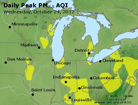 Peak Particles PM<sub>2.5</sub> (24-hour) - http://files.airnowtech.org/airnow/2012/20121024/peak_pm25_mi_in_oh.jpg