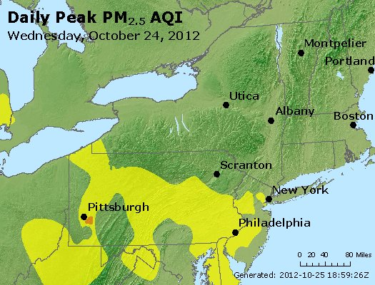 Peak Particles PM<sub>2.5</sub> (24-hour) - http://files.airnowtech.org/airnow/2012/20121024/peak_pm25_ny_pa_nj.jpg