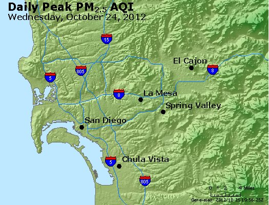 Peak Particles PM<sub>2.5</sub> (24-hour) - http://files.airnowtech.org/airnow/2012/20121024/peak_pm25_sandiego_ca.jpg