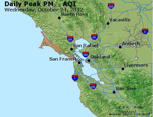 Peak Particles PM<sub>2.5</sub> (24-hour) - http://files.airnowtech.org/airnow/2012/20121024/peak_pm25_sanfrancisco_ca.jpg
