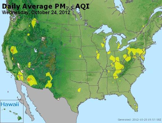 Peak Particles PM<sub>2.5</sub> (24-hour) - http://files.airnowtech.org/airnow/2012/20121024/peak_pm25_usa.jpg