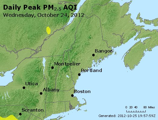 Peak Particles PM<sub>2.5</sub> (24-hour) - http://files.airnowtech.org/airnow/2012/20121024/peak_pm25_vt_nh_ma_ct_ri_me.jpg