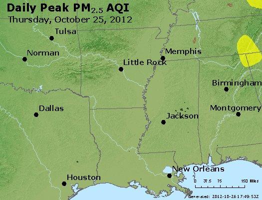 Peak Particles PM<sub>2.5</sub> (24-hour) - http://files.airnowtech.org/airnow/2012/20121025/peak_pm25_ar_la_ms.jpg