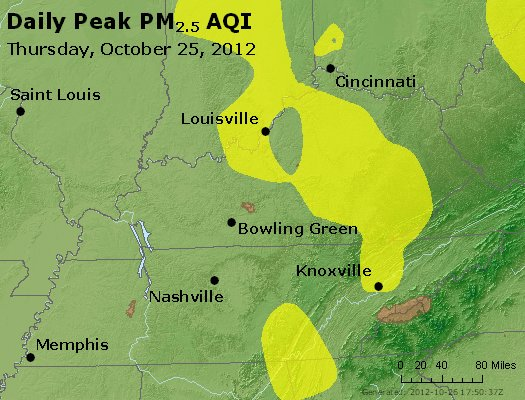 Peak Particles PM<sub>2.5</sub> (24-hour) - http://files.airnowtech.org/airnow/2012/20121025/peak_pm25_ky_tn.jpg
