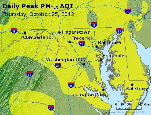 Peak Particles PM<sub>2.5</sub> (24-hour) - http://files.airnowtech.org/airnow/2012/20121025/peak_pm25_maryland.jpg