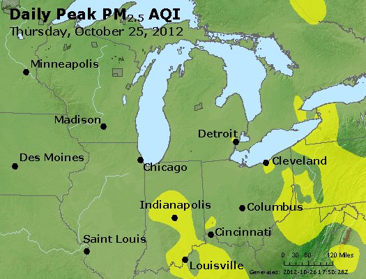 Peak Particles PM<sub>2.5</sub> (24-hour) - http://files.airnowtech.org/airnow/2012/20121025/peak_pm25_mi_in_oh.jpg