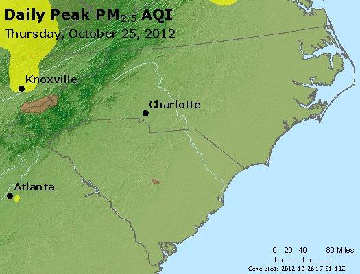 Peak Particles PM<sub>2.5</sub> (24-hour) - http://files.airnowtech.org/airnow/2012/20121025/peak_pm25_nc_sc.jpg