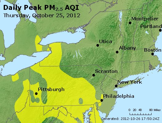 Peak Particles PM<sub>2.5</sub> (24-hour) - http://files.airnowtech.org/airnow/2012/20121025/peak_pm25_ny_pa_nj.jpg