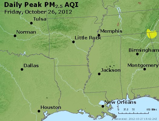 Peak Particles PM<sub>2.5</sub> (24-hour) - http://files.airnowtech.org/airnow/2012/20121026/peak_pm25_ar_la_ms.jpg