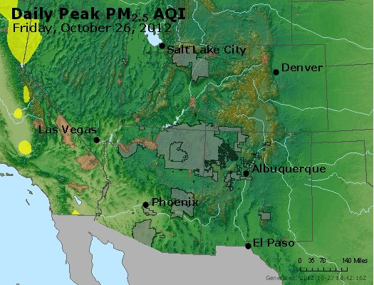 Peak Particles PM<sub>2.5</sub> (24-hour) - http://files.airnowtech.org/airnow/2012/20121026/peak_pm25_co_ut_az_nm.jpg