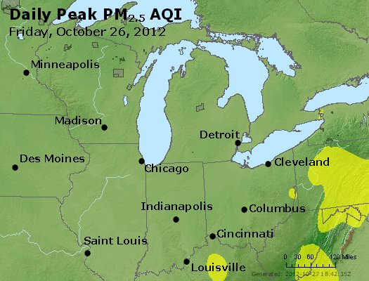 Peak Particles PM<sub>2.5</sub> (24-hour) - http://files.airnowtech.org/airnow/2012/20121026/peak_pm25_mi_in_oh.jpg