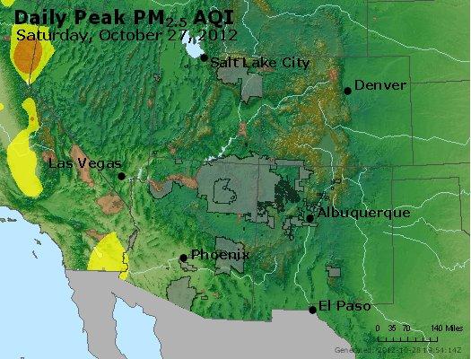 Peak Particles PM<sub>2.5</sub> (24-hour) - http://files.airnowtech.org/airnow/2012/20121027/peak_pm25_co_ut_az_nm.jpg