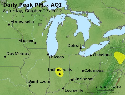 Peak Particles PM<sub>2.5</sub> (24-hour) - http://files.airnowtech.org/airnow/2012/20121027/peak_pm25_mi_in_oh.jpg