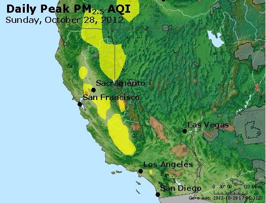 Peak Particles PM<sub>2.5</sub> (24-hour) - http://files.airnowtech.org/airnow/2012/20121028/peak_pm25_ca_nv.jpg