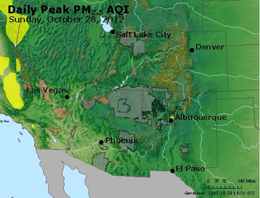 Peak Particles PM<sub>2.5</sub> (24-hour) - http://files.airnowtech.org/airnow/2012/20121028/peak_pm25_co_ut_az_nm.jpg