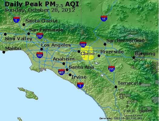 Peak Particles PM<sub>2.5</sub> (24-hour) - http://files.airnowtech.org/airnow/2012/20121028/peak_pm25_losangeles_ca.jpg