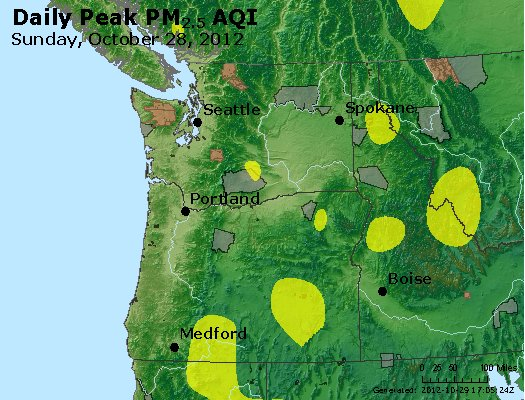 Peak Particles PM<sub>2.5</sub> (24-hour) - http://files.airnowtech.org/airnow/2012/20121028/peak_pm25_wa_or.jpg
