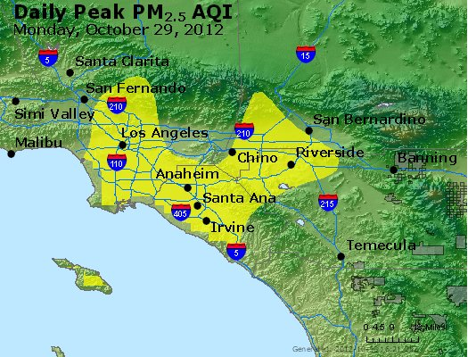 Peak Particles PM<sub>2.5</sub> (24-hour) - http://files.airnowtech.org/airnow/2012/20121029/peak_pm25_losangeles_ca.jpg