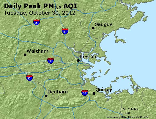 Peak Particles PM<sub>2.5</sub> (24-hour) - http://files.airnowtech.org/airnow/2012/20121030/peak_pm25_boston_ma.jpg