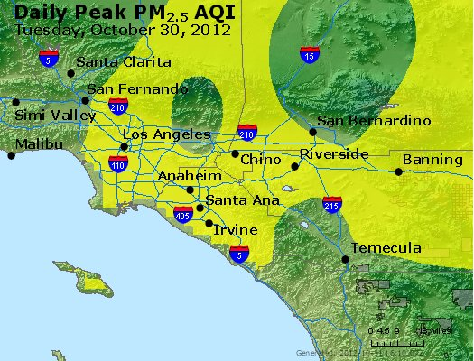 Peak Particles PM<sub>2.5</sub> (24-hour) - http://files.airnowtech.org/airnow/2012/20121030/peak_pm25_losangeles_ca.jpg