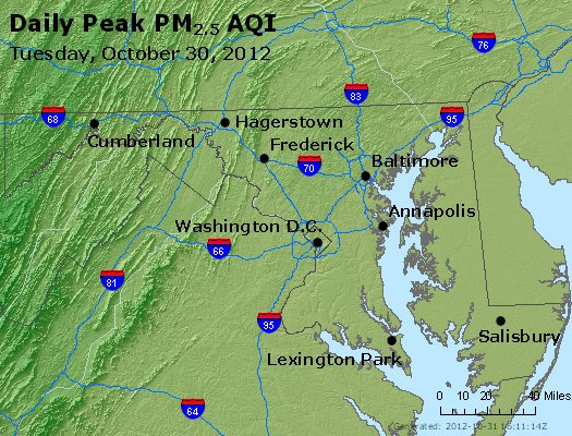 Peak Particles PM<sub>2.5</sub> (24-hour) - http://files.airnowtech.org/airnow/2012/20121030/peak_pm25_maryland.jpg
