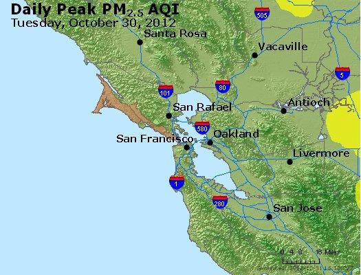 Peak Particles PM<sub>2.5</sub> (24-hour) - http://files.airnowtech.org/airnow/2012/20121030/peak_pm25_sanfrancisco_ca.jpg