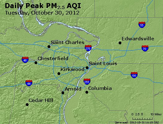 Peak Particles PM<sub>2.5</sub> (24-hour) - http://files.airnowtech.org/airnow/2012/20121030/peak_pm25_stlouis_mo.jpg
