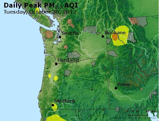 Peak Particles PM<sub>2.5</sub> (24-hour) - http://files.airnowtech.org/airnow/2012/20121030/peak_pm25_wa_or.jpg