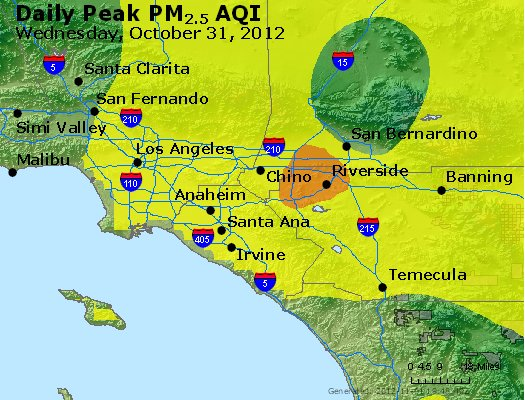 Peak Particles PM<sub>2.5</sub> (24-hour) - http://files.airnowtech.org/airnow/2012/20121031/peak_pm25_losangeles_ca.jpg