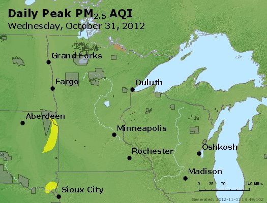 Peak Particles PM<sub>2.5</sub> (24-hour) - http://files.airnowtech.org/airnow/2012/20121031/peak_pm25_mn_wi.jpg