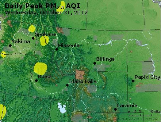 Peak Particles PM<sub>2.5</sub> (24-hour) - http://files.airnowtech.org/airnow/2012/20121031/peak_pm25_mt_id_wy.jpg