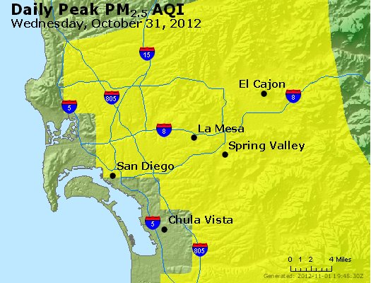 Peak Particles PM<sub>2.5</sub> (24-hour) - http://files.airnowtech.org/airnow/2012/20121031/peak_pm25_sandiego_ca.jpg