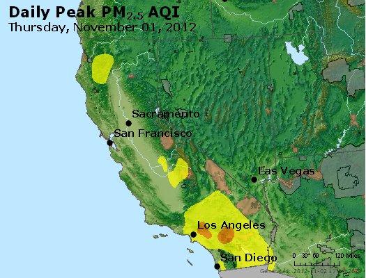 Peak Particles PM<sub>2.5</sub> (24-hour) - http://files.airnowtech.org/airnow/2012/20121101/peak_pm25_ca_nv.jpg