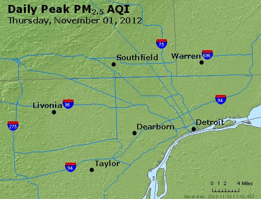 Peak Particles PM<sub>2.5</sub> (24-hour) - http://files.airnowtech.org/airnow/2012/20121101/peak_pm25_detroit_mi.jpg