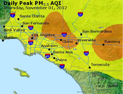 Peak Particles PM<sub>2.5</sub> (24-hour) - http://files.airnowtech.org/airnow/2012/20121101/peak_pm25_losangeles_ca.jpg