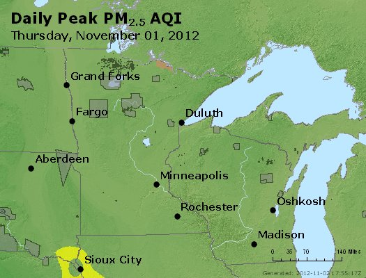 Peak Particles PM<sub>2.5</sub> (24-hour) - http://files.airnowtech.org/airnow/2012/20121101/peak_pm25_mn_wi.jpg