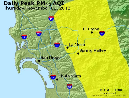 Peak Particles PM<sub>2.5</sub> (24-hour) - http://files.airnowtech.org/airnow/2012/20121101/peak_pm25_sandiego_ca.jpg