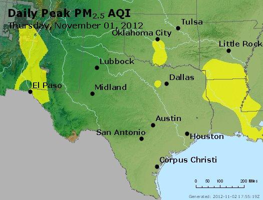 Peak Particles PM<sub>2.5</sub> (24-hour) - http://files.airnowtech.org/airnow/2012/20121101/peak_pm25_tx_ok.jpg