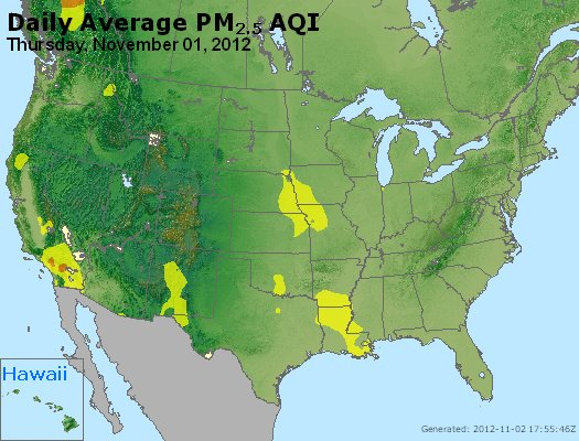 Peak Particles PM<sub>2.5</sub> (24-hour) - http://files.airnowtech.org/airnow/2012/20121101/peak_pm25_usa.jpg