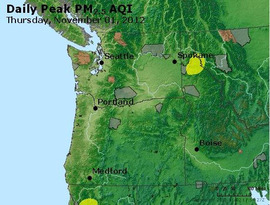 Peak Particles PM<sub>2.5</sub> (24-hour) - http://files.airnowtech.org/airnow/2012/20121101/peak_pm25_wa_or.jpg