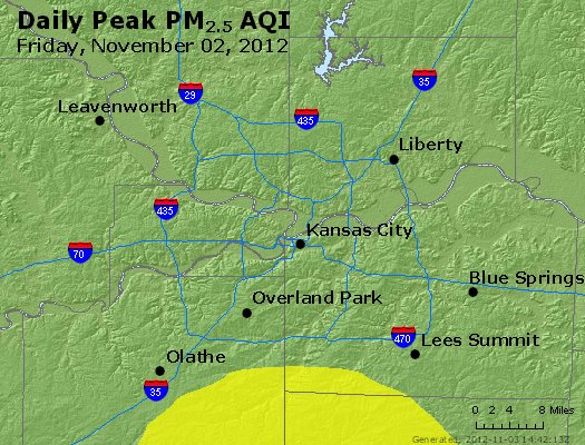 Peak Particles PM<sub>2.5</sub> (24-hour) - http://files.airnowtech.org/airnow/2012/20121102/peak_pm25_kansascity_mo.jpg